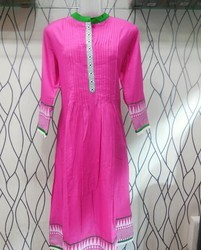short sleeve embroidered pink kurti