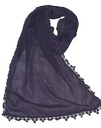 Solid Cotton Scarves With Lace