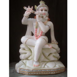 White Marble Krishna With Flute