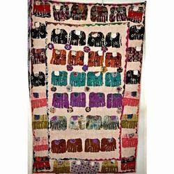 Elephant Applique Patch work Kantha Reversible Quilt
