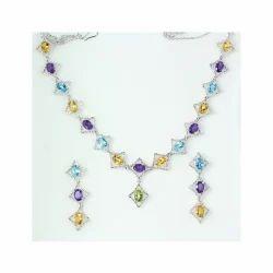 Citrine Peridot Blue Topaz Amethyst Silver Necklace Set