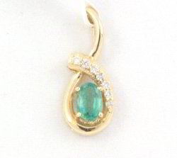 Emerald And Diamond 14K Yellow Gold Pendant