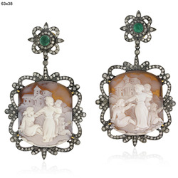 Emerald Pave Diamond Cameo Earrings