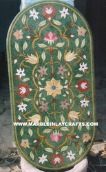 Green Marble Inlay Oval Table Top