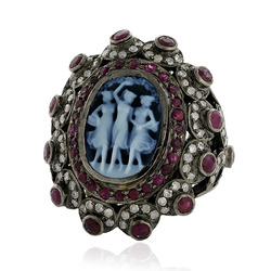 Pave Diamond Cameo Rings Jewelry