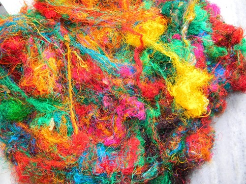 Sari Silk Waste Multicolored