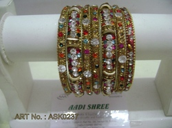 Hyderabadi Golden Bangle Set With Multicolour Stones