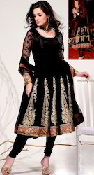 Black Georgette Churidar Kameez with Dupatta