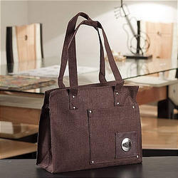Ethnik Handcrafted Coffee Brown Purse Of Recycled Jute