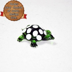 Tiny Cute Little Green _Turtle With While Polka Dots