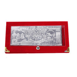 silver currency note with velvet case
