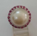 Sterling Silver Ring in Pearl & Ruby