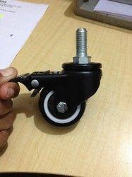 2 (12mm) Thread Castors with Black PU Wheel
