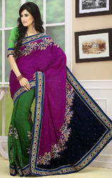Dark+Magenta+Navy+Blue+and+Green+Color+Velvet+and+Net+Saree