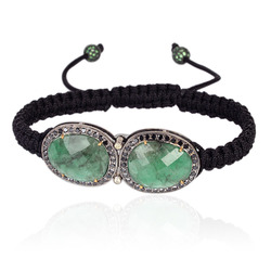 Black Diamond Emerald Macrame Bracelet