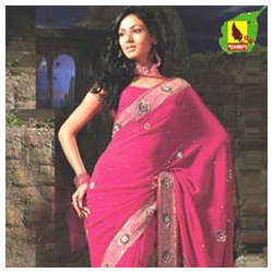 Zari Border Crepe Saree With Blouse