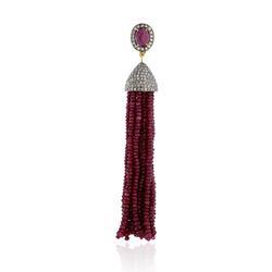 Ruby Beads Diamond Tassel Pendant
