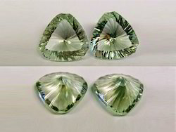 Fancy Green Amethyst Concave Trillion