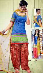 Royal Blue Shimmer Art Silk Salwar Kameez with Dupatta