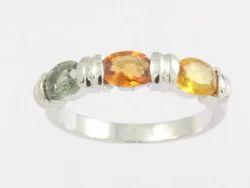 Multi Sapphire Gemstone Ring in Silver