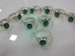 White Metal Green Onyx Ring