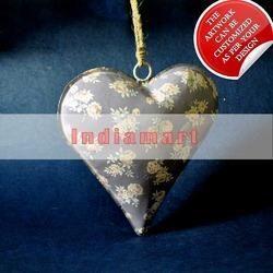 Grey Floral Heart Hanging Iron Sheet