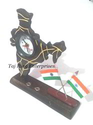 India Flag Pen Stand With Clock