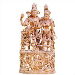 Sandalwood Shiva Parvati Statue