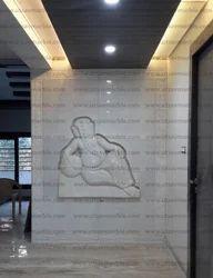 Designer White Marble Ganesha Wall Mural