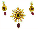 Kundan Pendant & Earrings With Ruby Beads