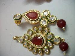 Brass Ruby Earrings