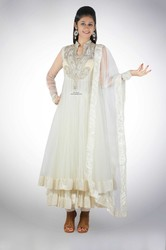 Long Ivory Resham Anarkali