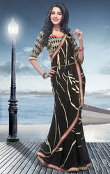 Black+Faux+Georgette+Saree+with+Blouse