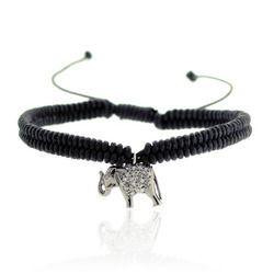Elephant Charm Macrame Bracelet