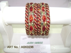 Hyderabadi Bangle With Orange Stones