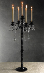 Glossy Black 5 Light Candelabra with Crystals