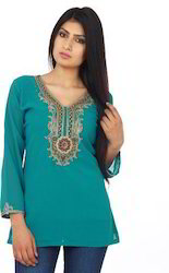 Teal+Green+Ggt+Tunic+With+Heavily+Embellished+Front+Neckline