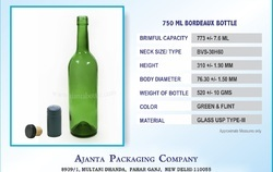 750 Ml Wine Glass Bottle Green