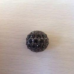 Round Black Onyx And Diamonds Beads 15mm