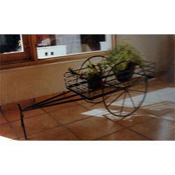 Wrought Iron Powder Coated Bullock Cart Pot Holder Stand