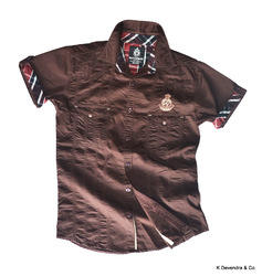 Half Sleeve 2 Pocket Cargo Sateen Shirts with Embroidery