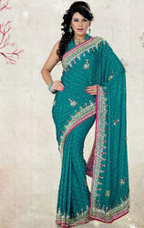Teal+Blue+Color+Satin+Chiffon+Saree+with+Blouse