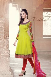Beautiful Design Green, Red Colour Salwar Kameez