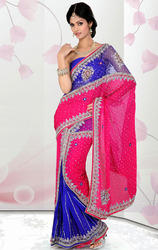 Rani+Pink+and+Royal+Blue+Satin+Chiffon+and+Net+Ready+Saree