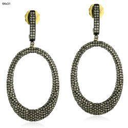 Pave Diamond Oval Earrings Jewelry