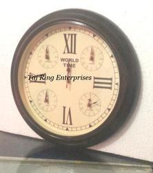 Antique Wood World Clock