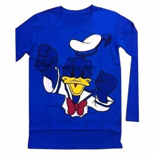 Printed Blue Mens T Shirt
