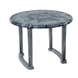 Black Plastic Round Dining Table, Height: 730 mm, Diameter: 1000 mm