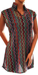 Lycra Zig Zag Stripe Print Shirt