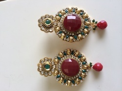 Red Stone Antique Earrings